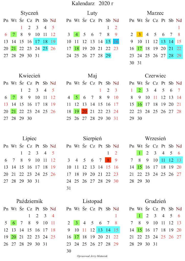 Kalendarz wydarzeń w 2020r.